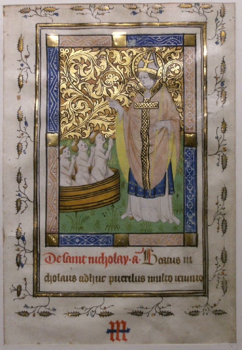 Recto: St Nicholas reviving three Boys, from a Book of Hours<br />Verso: extensive inscription