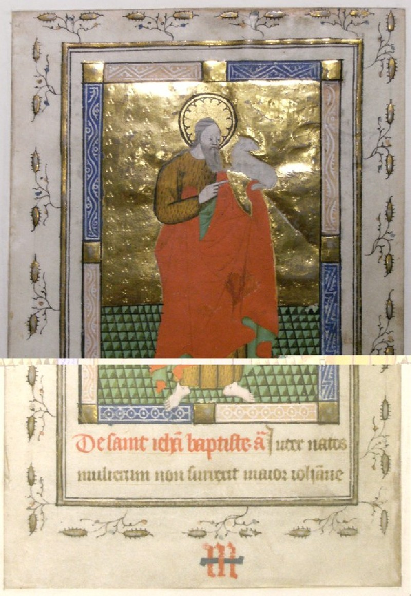 Recto: St John the Baptist, from a Book of Hours<br />Verso: extensive inscription