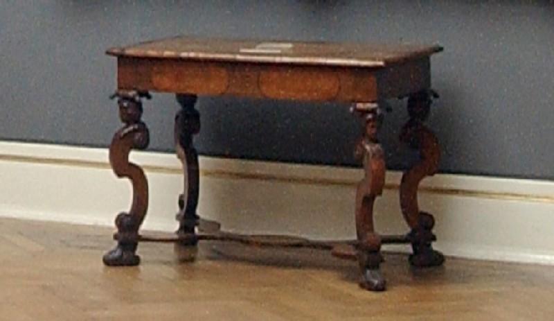 Writing table on scrolled legs (WA1958.35, record shot)