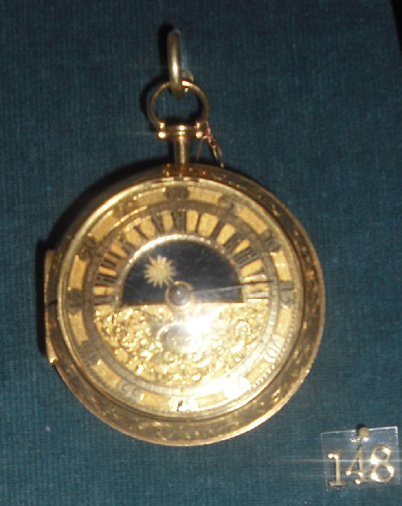 Gold cased verge watch with sun-and-moon dial (WA1974.144, record shot)