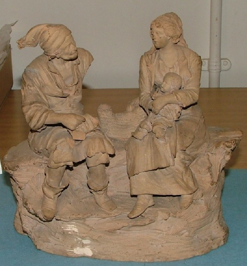 Two seated peasants talking