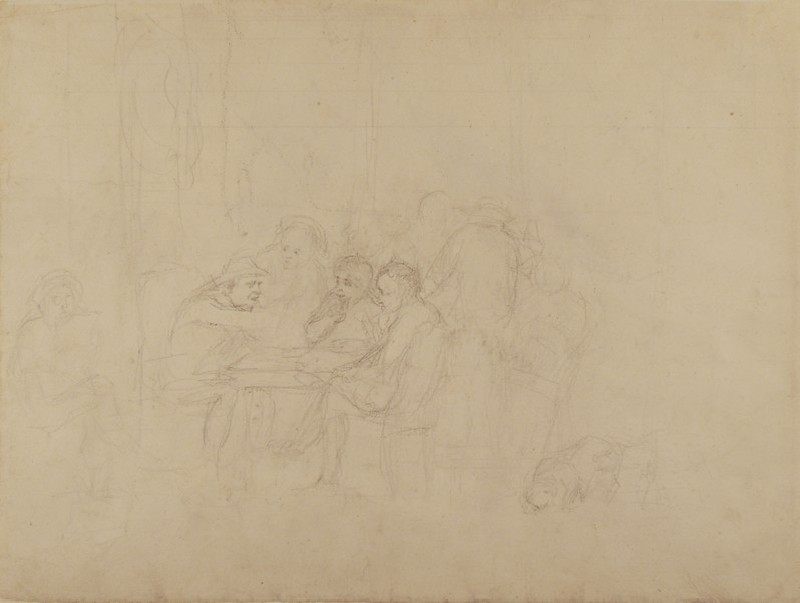 Recto: Sketch for the 'Village Politicians'<br />Verso: Studies of a torso and seated dog