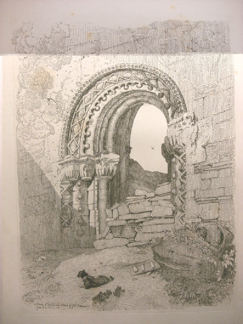 Arched doorway and dog (Rievaulx Abbey, Yorkshire)