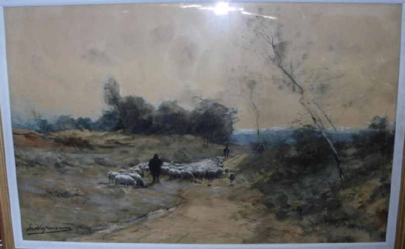 Landscape with Shepherds guiding a Flock of Sheep (WA1990.109, record shot)