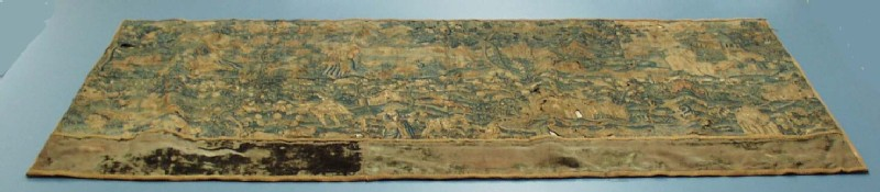 Embroidered panel, probably part of a valance, with pastoral scenes