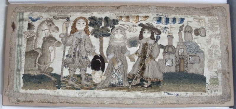Textile panel with Old Testament scene, probably the story of Isaac