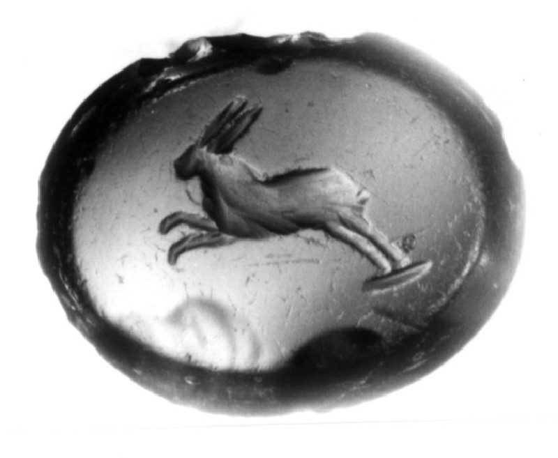 Intaglio gem depicting a running hare in profile