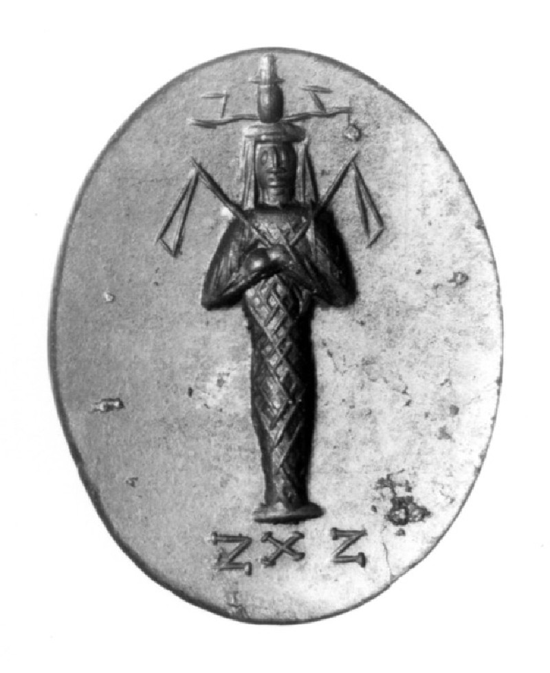 Magical intaglio gem, Osiris wearing the atef crown, inscription on reverse