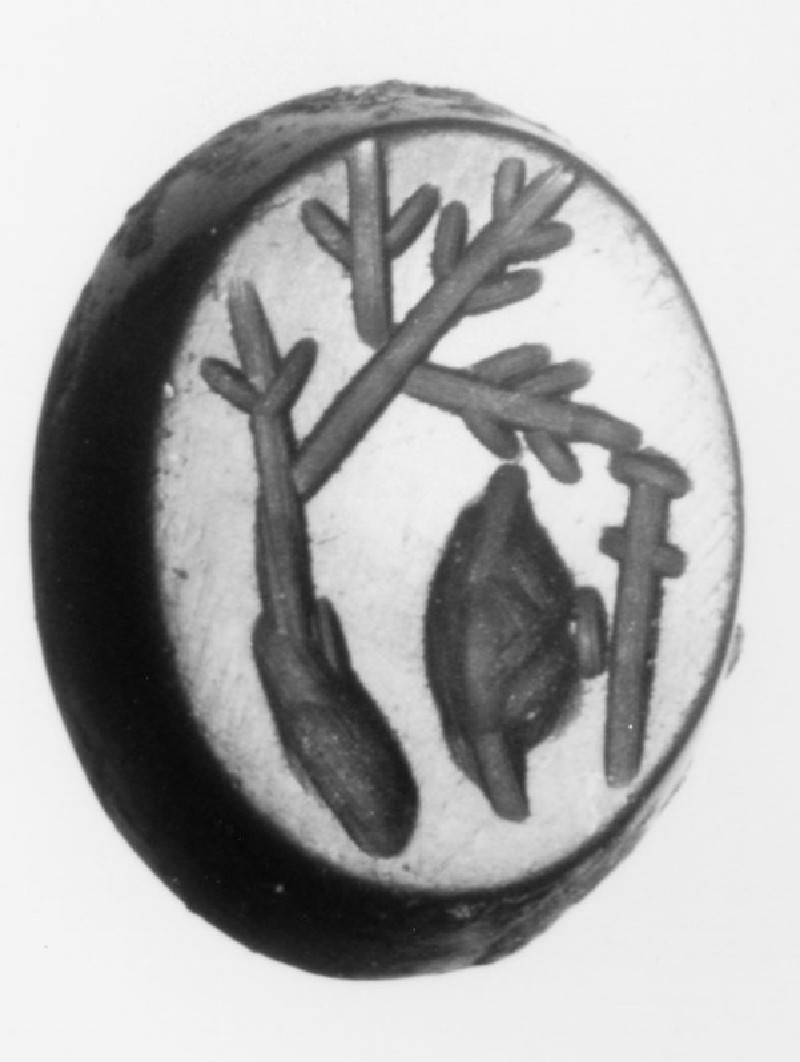 Intaglio gem, sword and shield