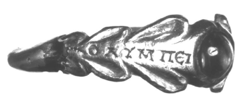 Gold finger ring inscribed in Greek