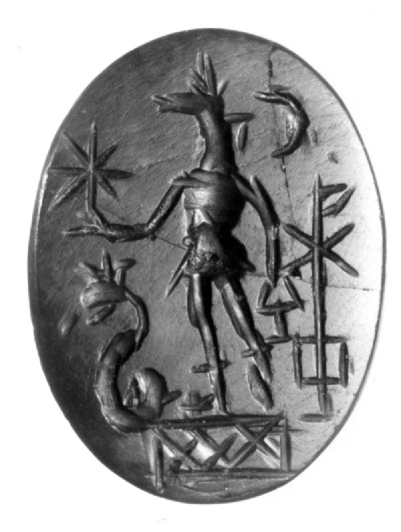 Magical intaglio, jackal-headed Anubis (AN1941.223, record shot)