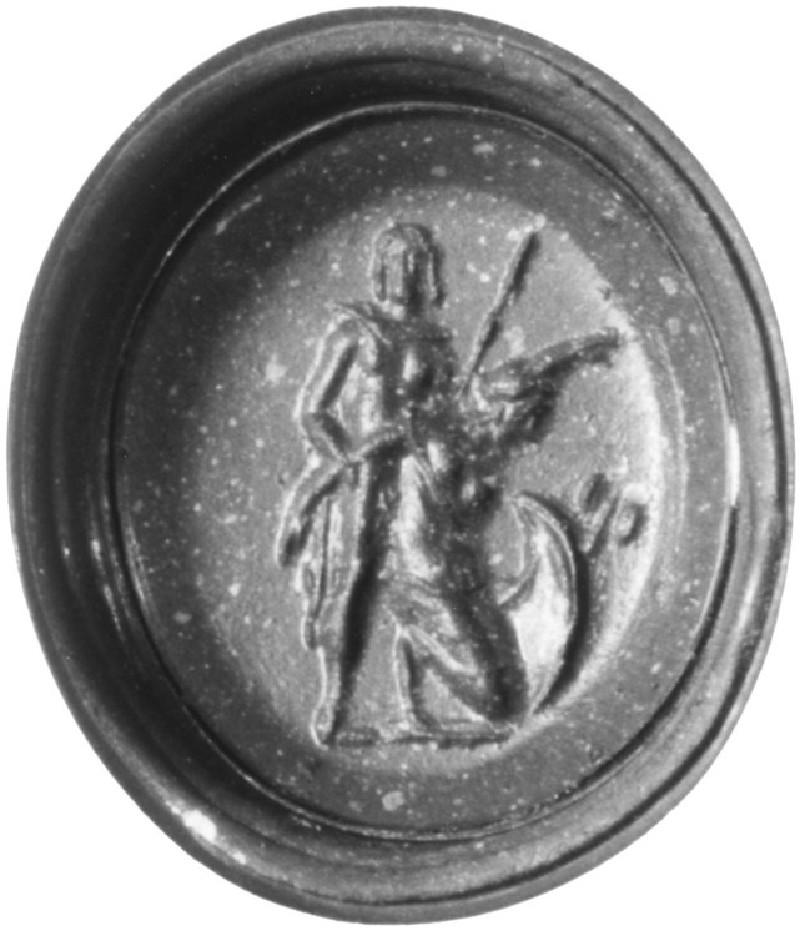 Intaglio gem, warrior holding captured Amazon