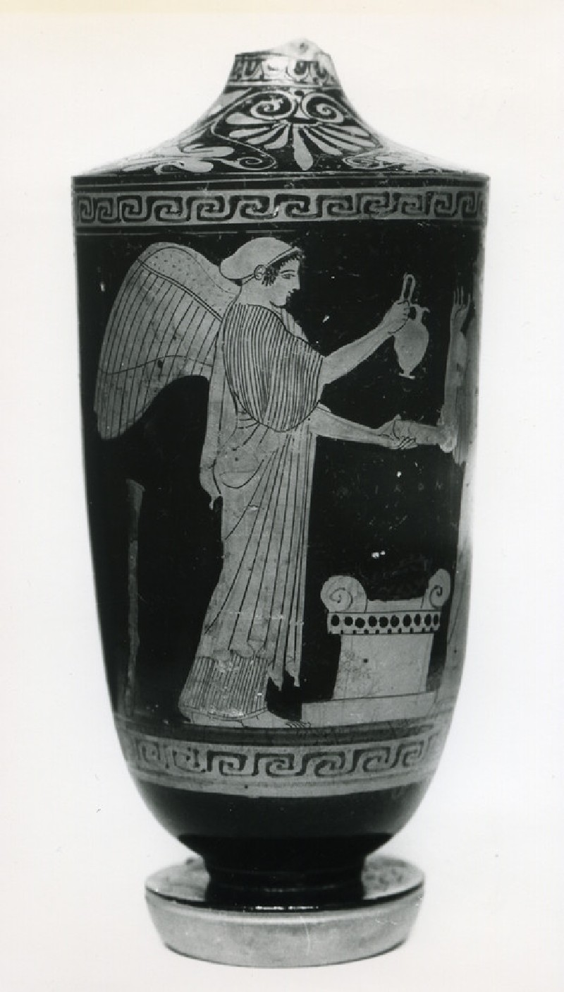 Attic red-figure pottery lekythos depicting a religious scene