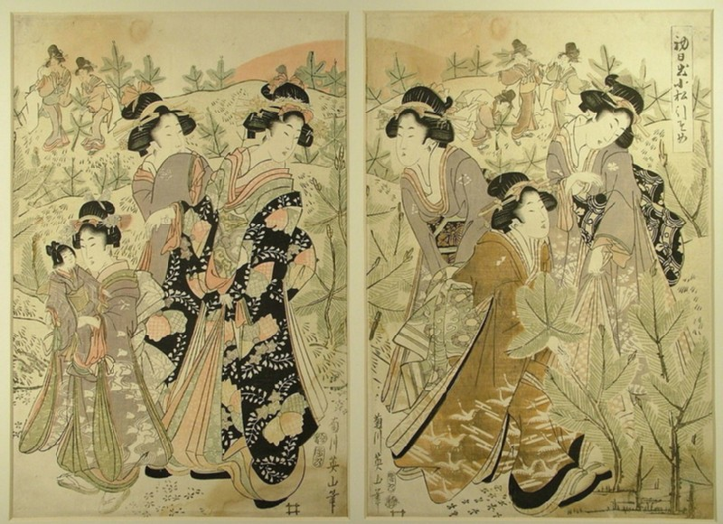 Geisha and her party of women in a field of young pines (EAX.4441, record shot)