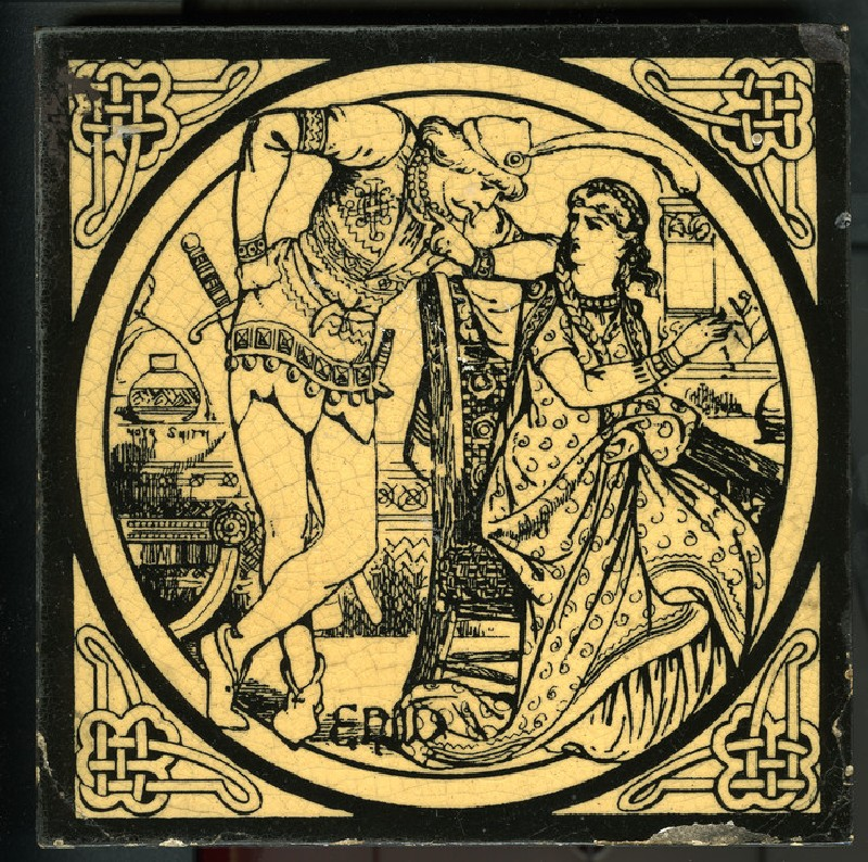 Tile with Enid, a man leaning over a seated woman in a roundel, from Tennyson