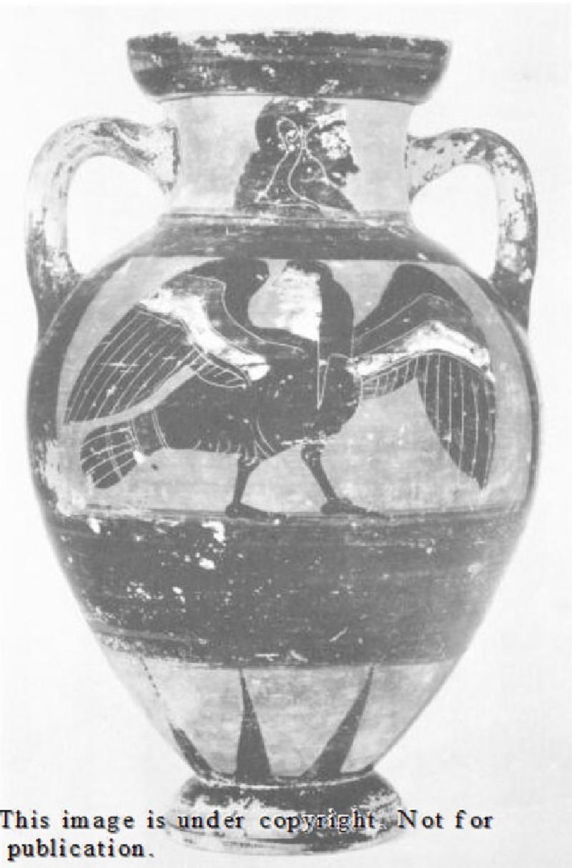 Attic black-figure pottery amphora depicting a mythological figure