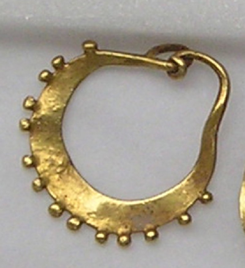 Lunate gold earring with decorative border (AN1873.151, record shot)