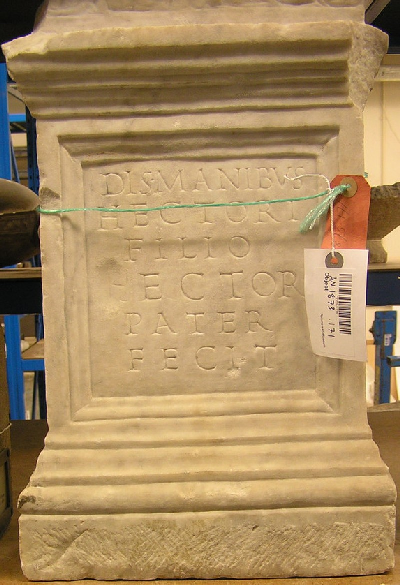 Funerary altar with Latin inscription