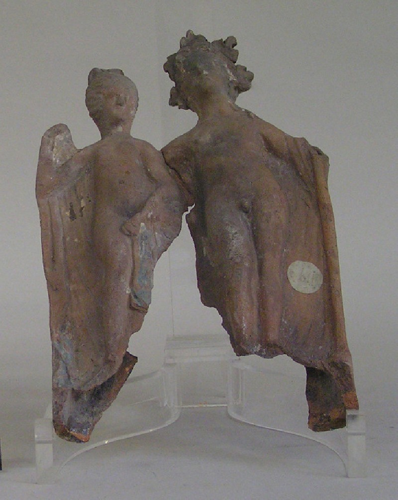 Painted terracotta figurines of Bacchus and Ariadne