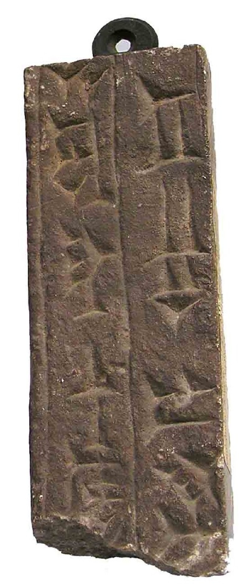 Alabaster slab with incised cuneiform inscription