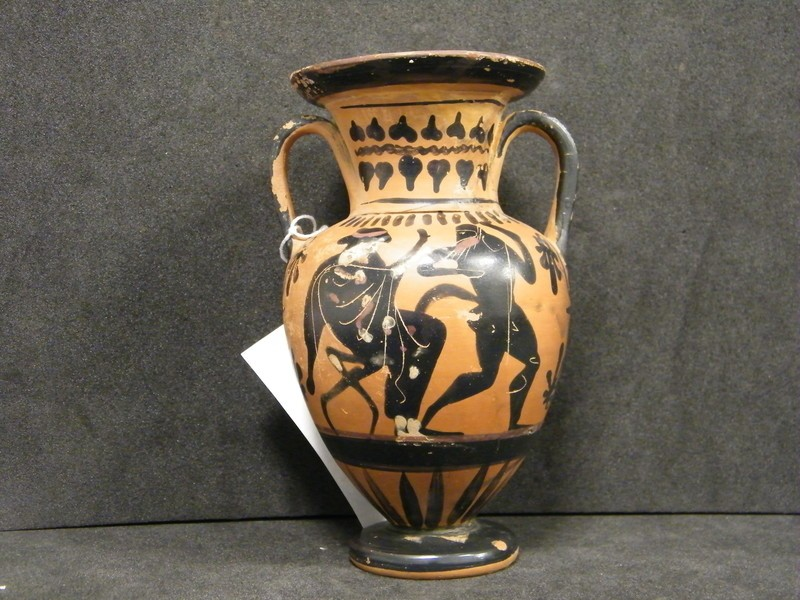 Attic black-figure pottery amphora depicting a Dionysiac scene (AN1879.156, AN.1879.153, record shot)