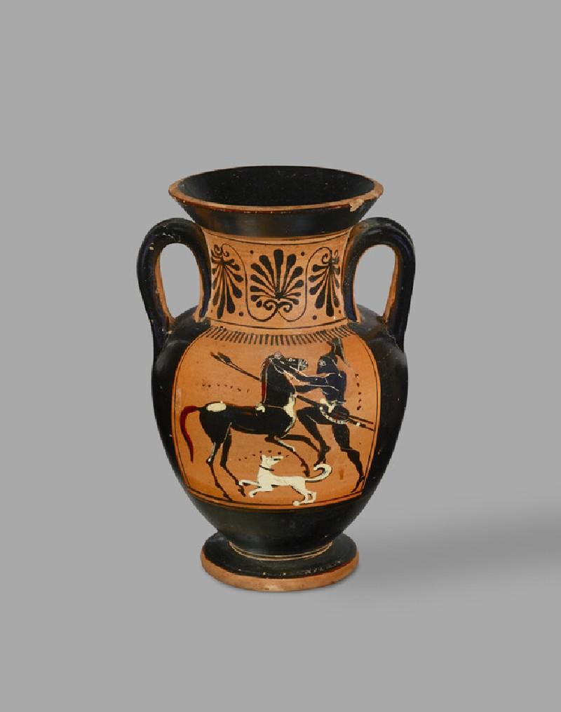 Attic black-figure pottery amphora depicting warriors