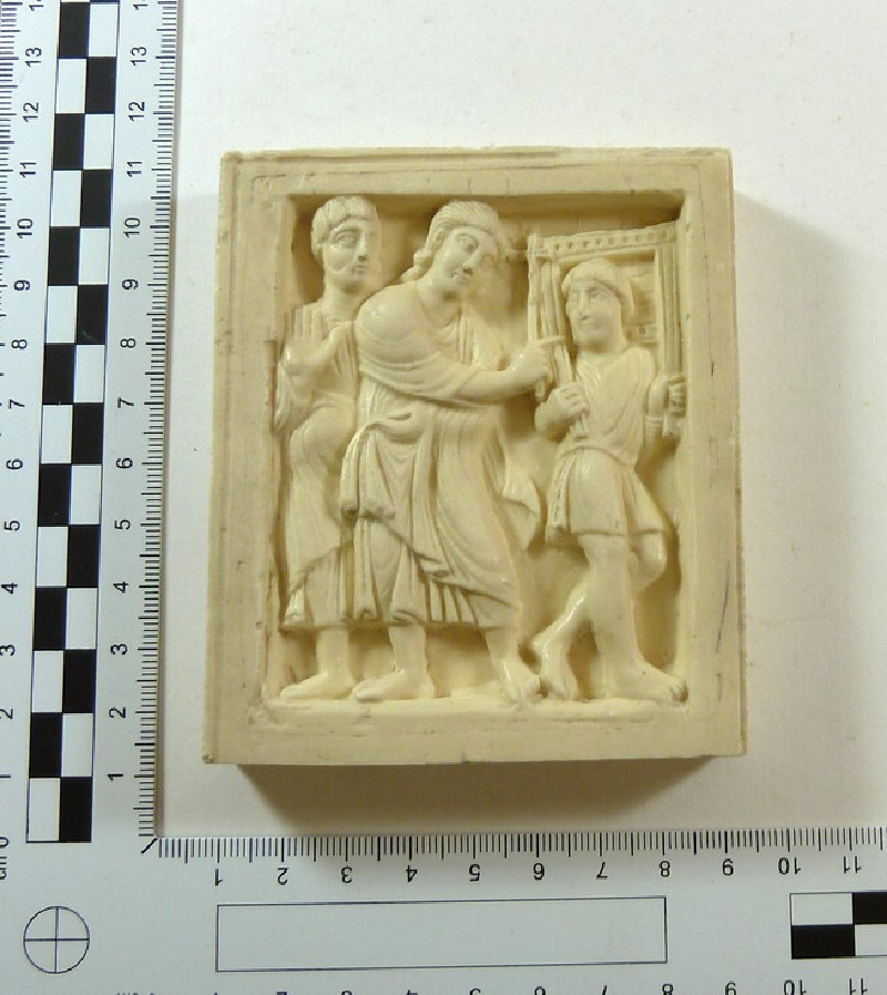 Plaster cast of carved ivory relief from casket
