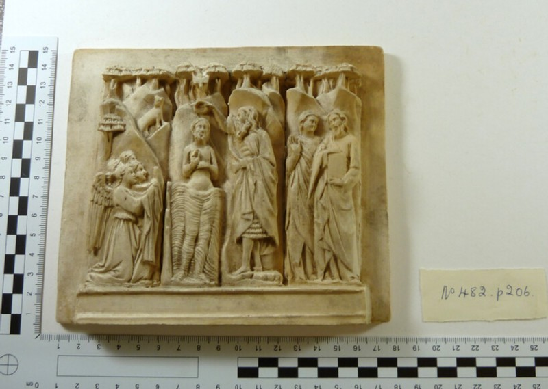Plaster cast of carved ivory relief from altar retable