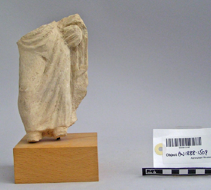 Male votary, lower body and legs, votive-sculpture