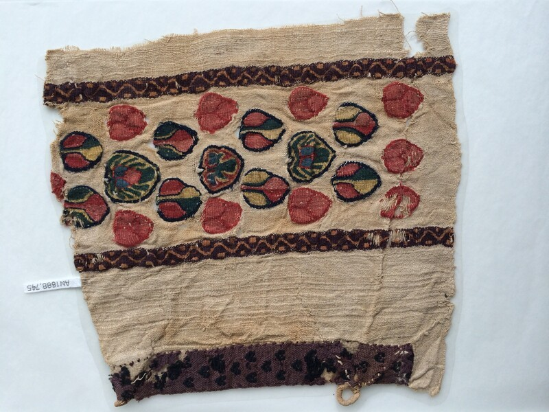 Tapestry fragments included in a tabby weave
