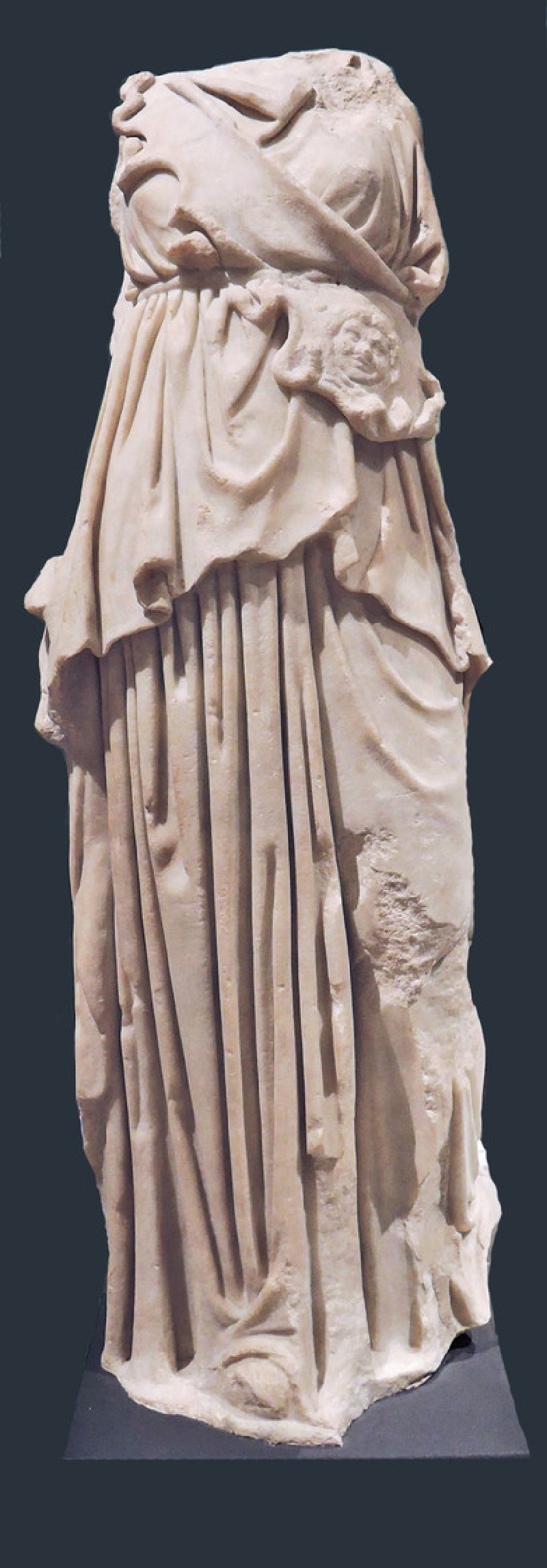 Marble statue of Athena with aegis and Gorgoneion, copy of 4th century BC Greek sculpture (AN1891.734, record shot)