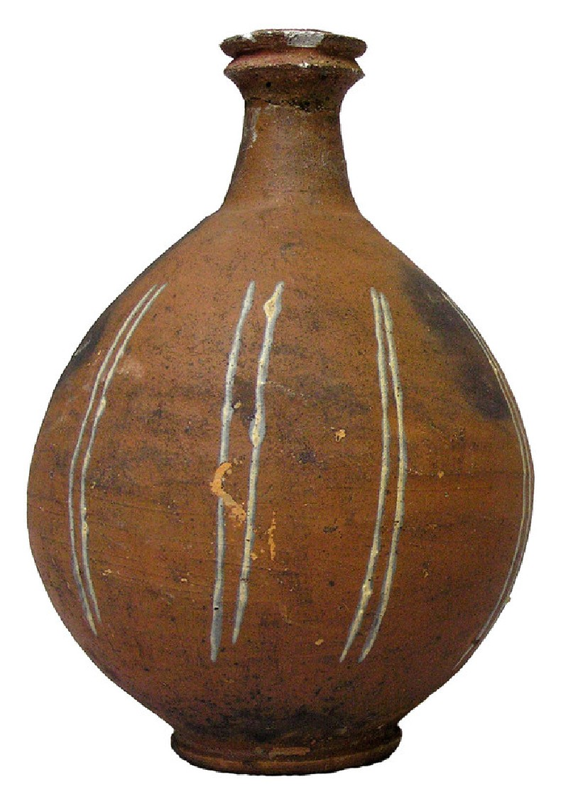 Pottery bottle ornamented with nine vertical double lines in white paint (AN1896-1908.R.190, AN.1896-1908.R.190, record shot)