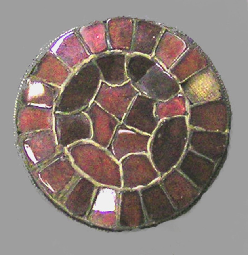 Cloisonne and garnet brooch