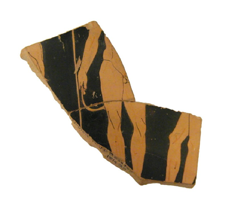 Attic red-figure pottery stemmed cup fragments depicting an athletics scene