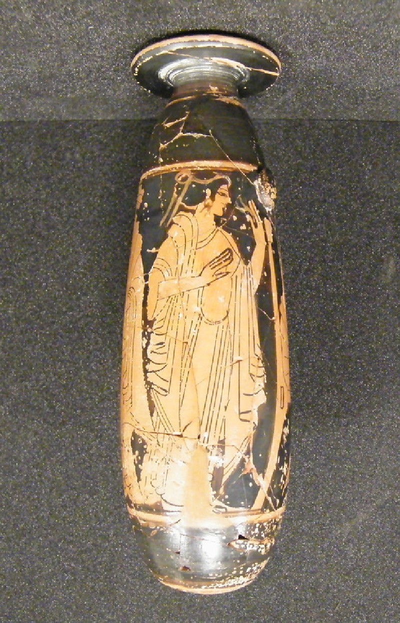Attic red-figure pottery alabastron depicting a domestic scene (AN1921.1214, AN.1921.1214, record shot)