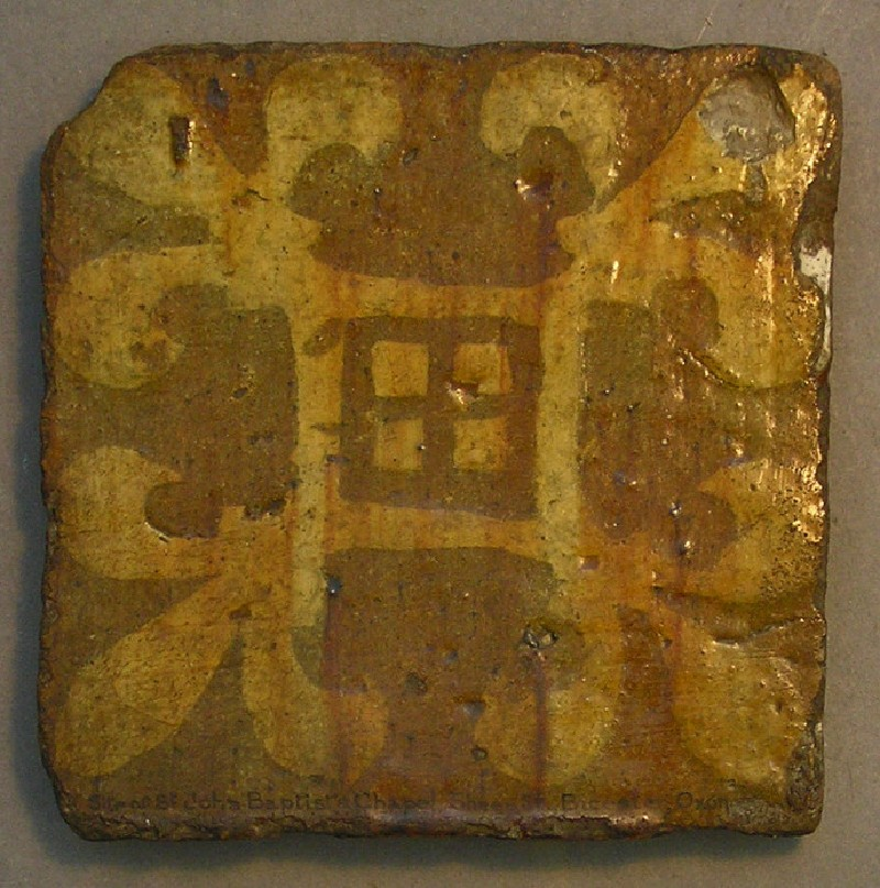 Lead-glazed encaustic tile with four fleur de lys