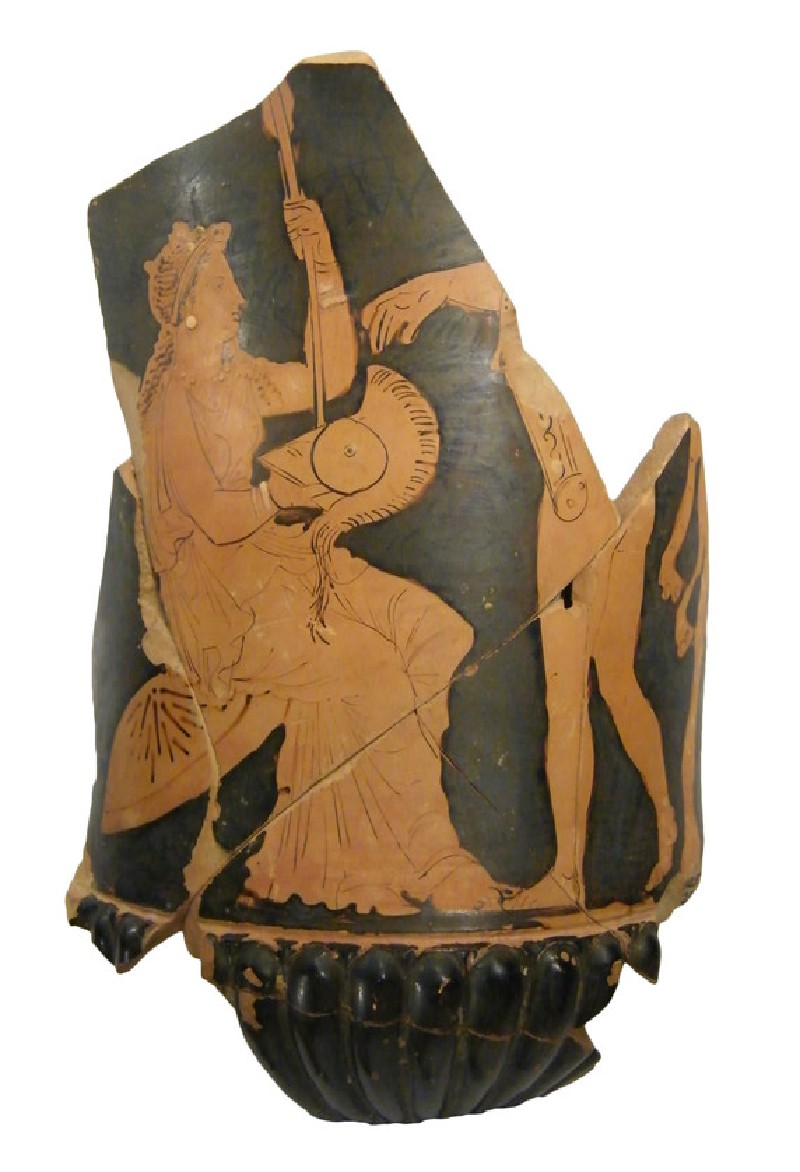 Attic red-figure pottery krater fragments depicting a mythological scene