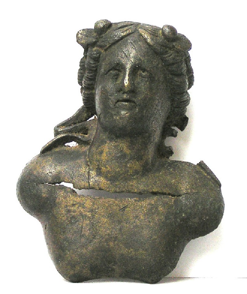 Furniture attachment in the form of a small bronze bust of Dionysus (AN1927.565, AN.1927.565, record shot)