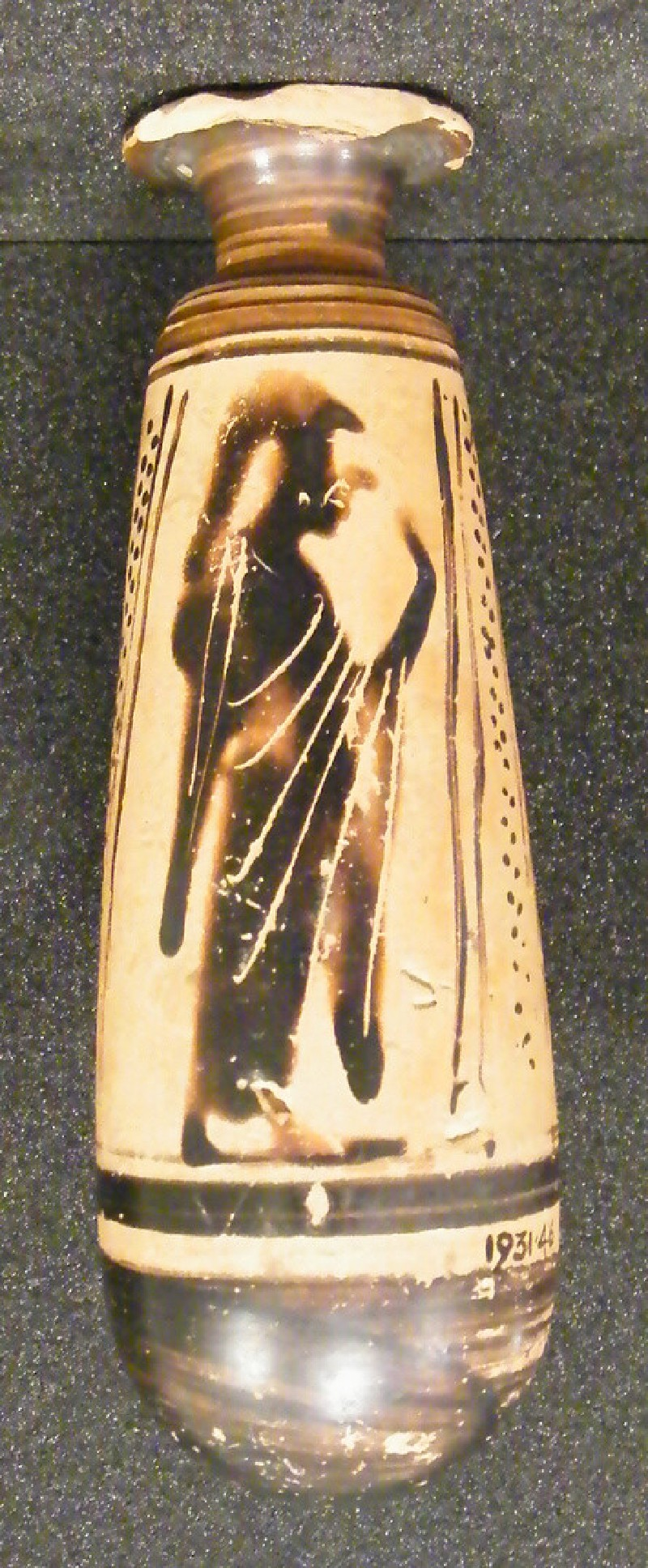Attic black-figure pottery alabastron depicting Athena and Hermes (AN1931.46, AN.1931.46, record shot)