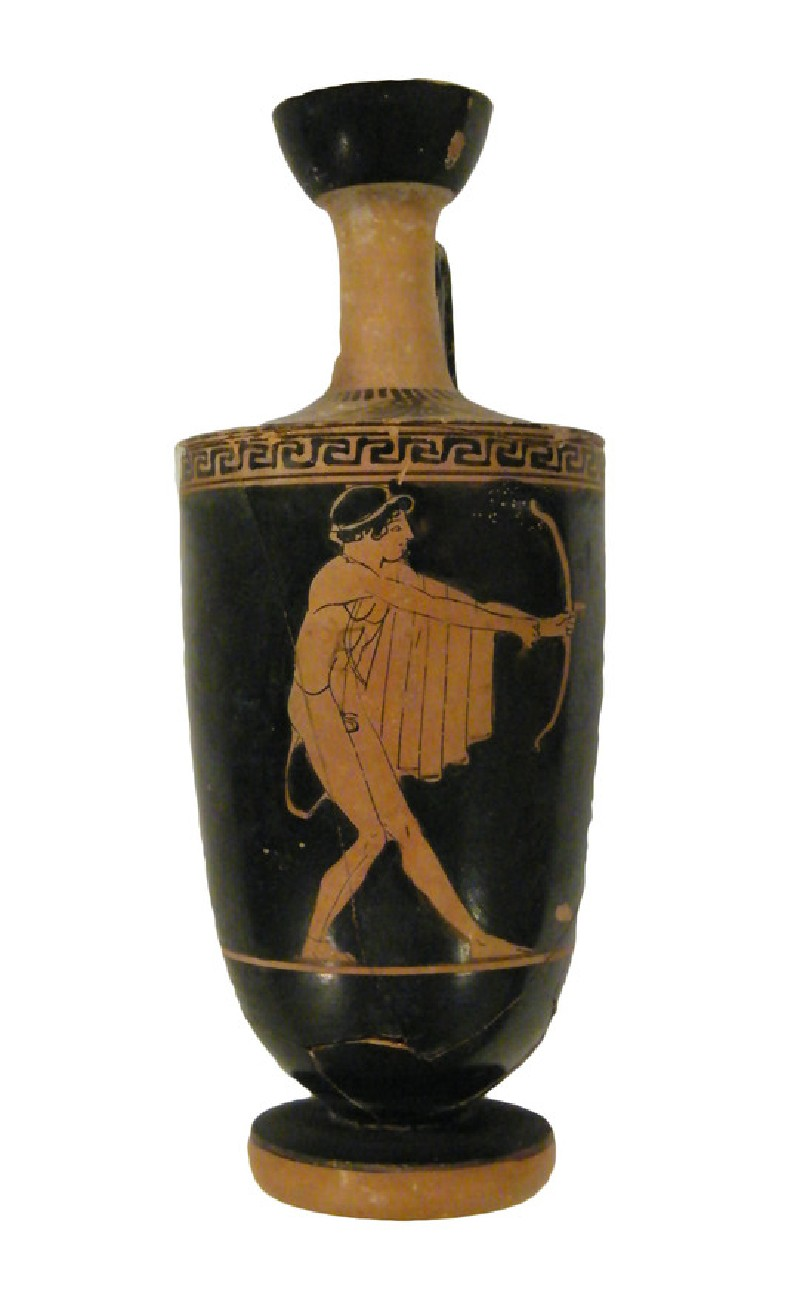 Attic red-figure pottery lekythos depicting an archer (AN1946.183, AN.1946.183, record shot)