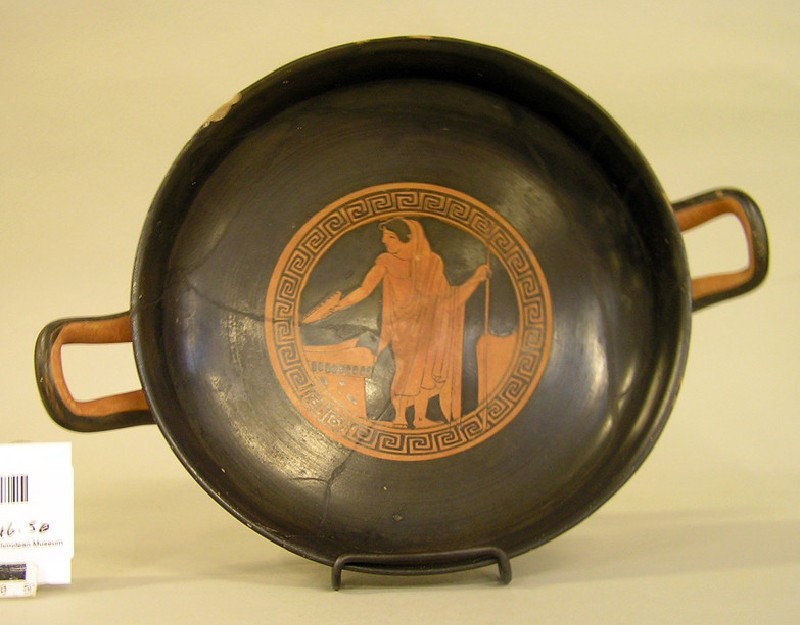Attic red-figure pottery stemmed cup