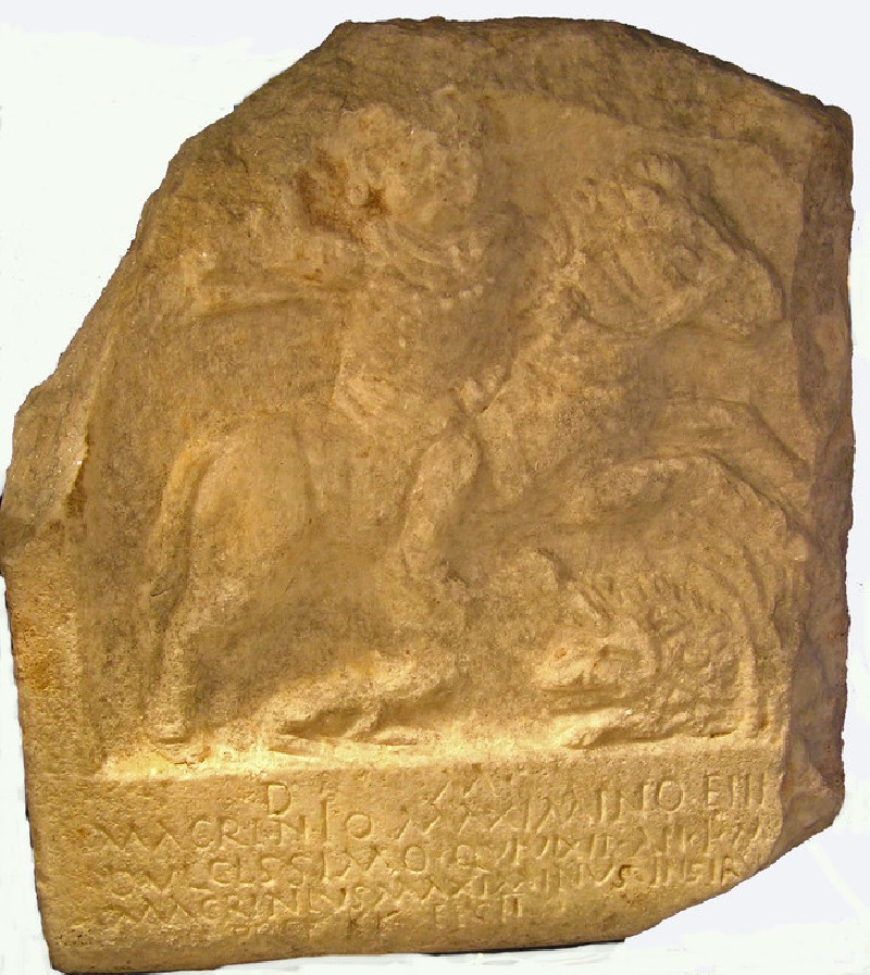 Tombstone with Latin inscription to Macrinius Maximus, depicts child riding a horse at full gallop