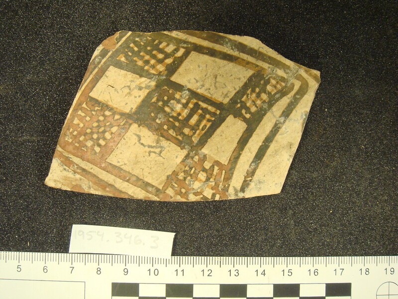East Greek oinochoe body fragment with chequered pattern of empty and hatched lozenges (AN1954.346.3, record shot)