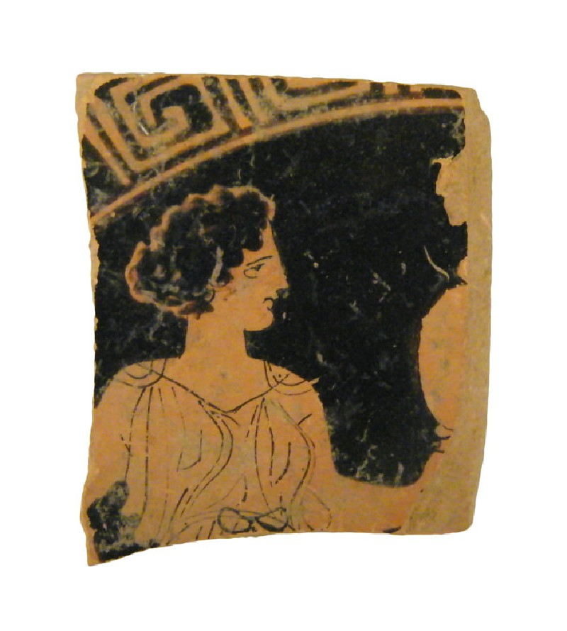 Attic red-figure pottery cup sherd depicting an athletics scene