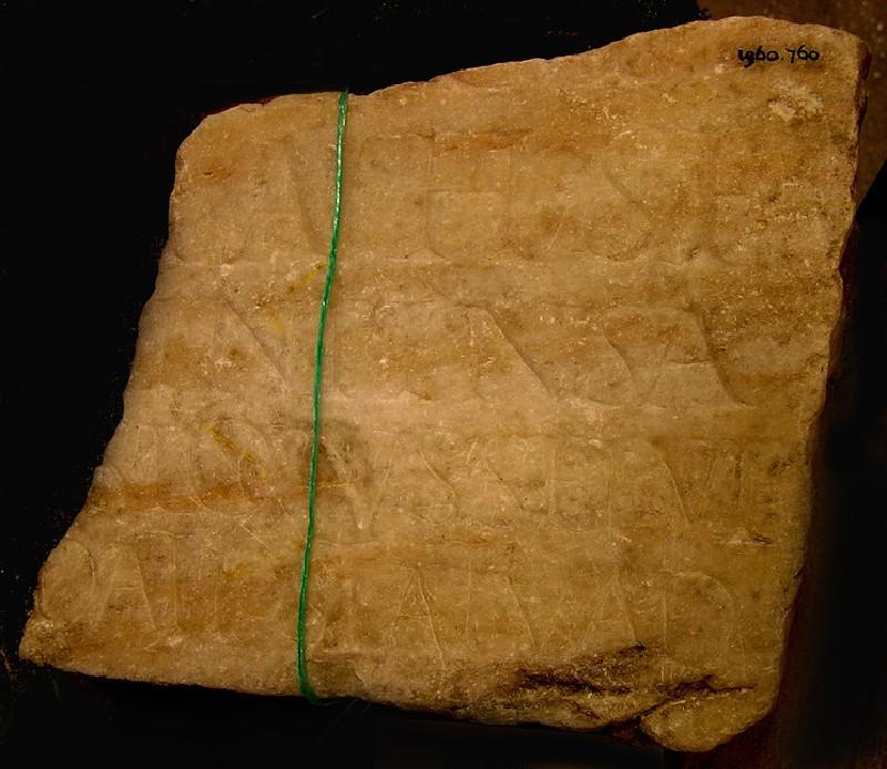Fragment of funerary Latin inscription (AN1960.760, AN.1960.760, record shot)