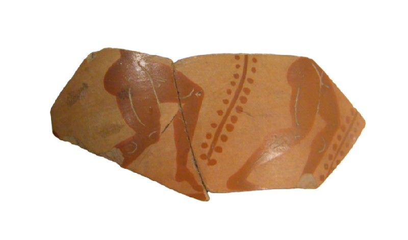 Attic black-figure pottery cup fragment depicting an athletics scene (AN1966.1005, AN.1966.1005, record shot)