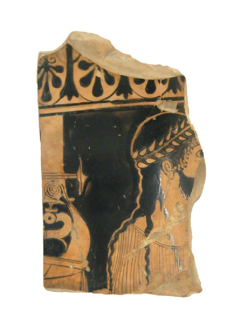 Attic red-figure pottery stand sherd depicting a mythological scene