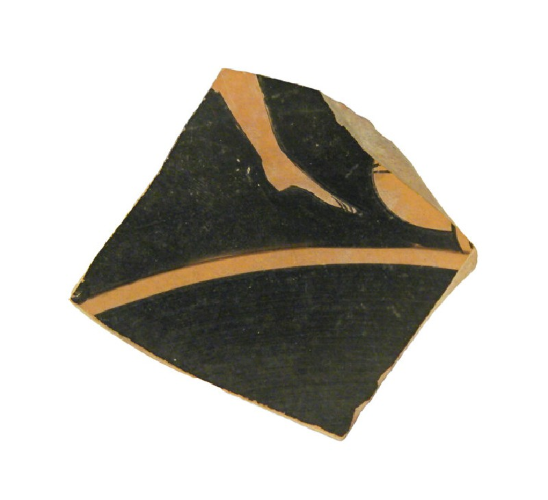 Attic red-figure pottery cup sherd depicting a komos or athletics scene (AN1966.727, AN.1966.727, record shot)