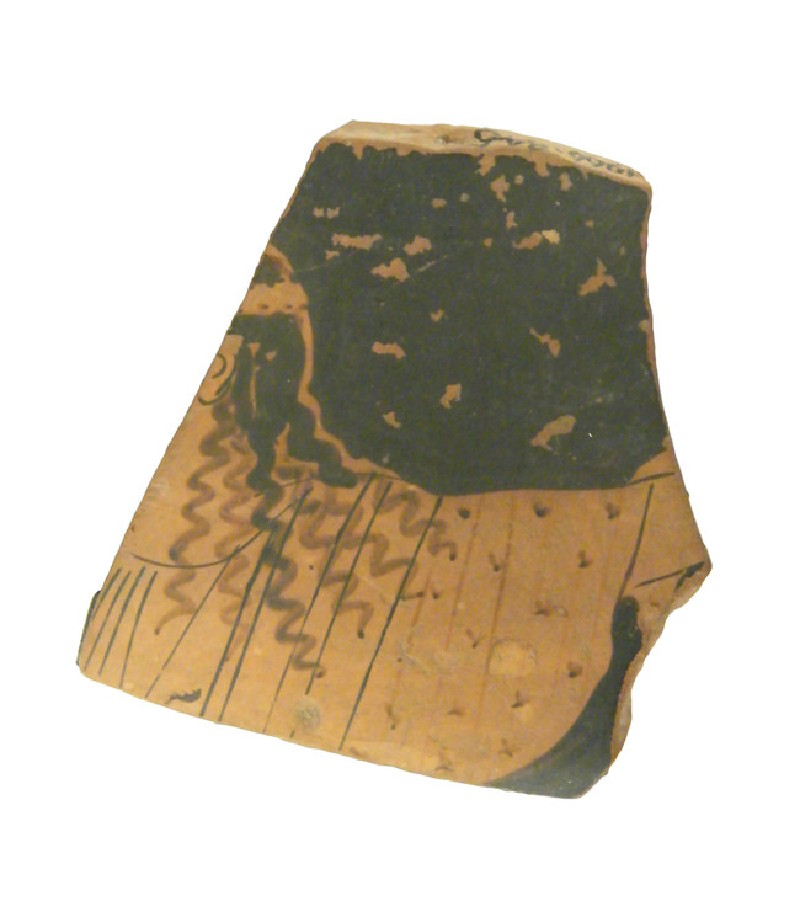 Attic red-figure pottery hydria sherd depicting a Dionysiac scene (AN1966.845, AN.1966.845, record shot)