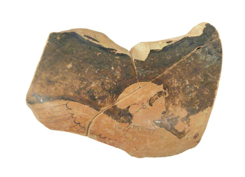 Attic red-figure pottery amphora fragment depicting a mythological scene (AN1966.847, AN.1966.847, record shot)